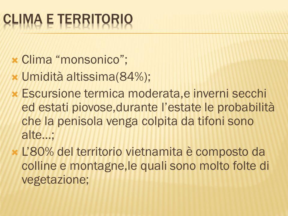 CLIMA e TERRITORIO Clima monsonico ; Umidità altissima(84%);