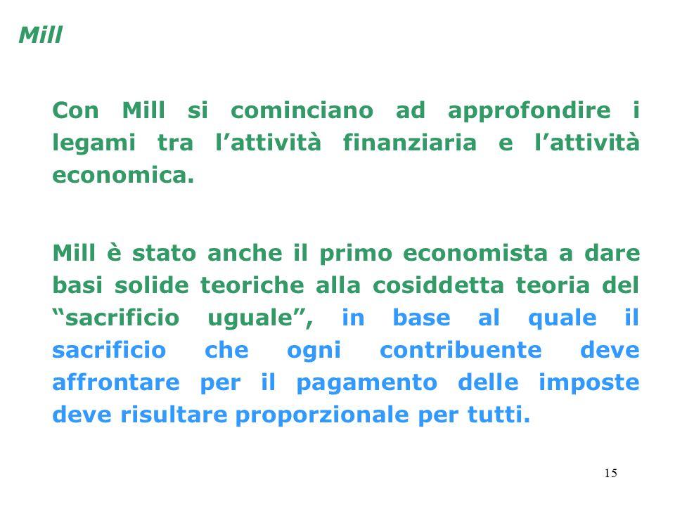 Mill Con Mill si cominciano ad approfondire i legami tra l'attività finanziaria e l'attività economica.