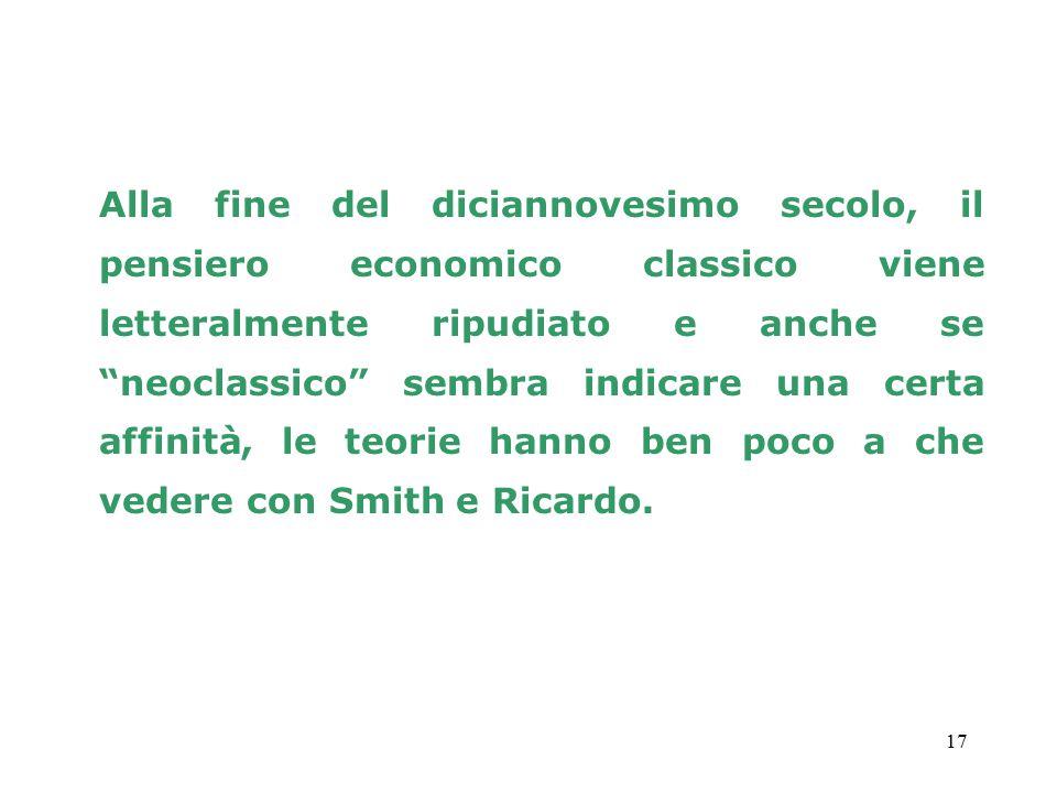 Alla fine del diciannovesimo secolo, il pensiero economico classico viene letteralmente ripudiato e anche se neoclassico sembra indicare una certa affinità, le teorie hanno ben poco a che vedere con Smith e Ricardo.