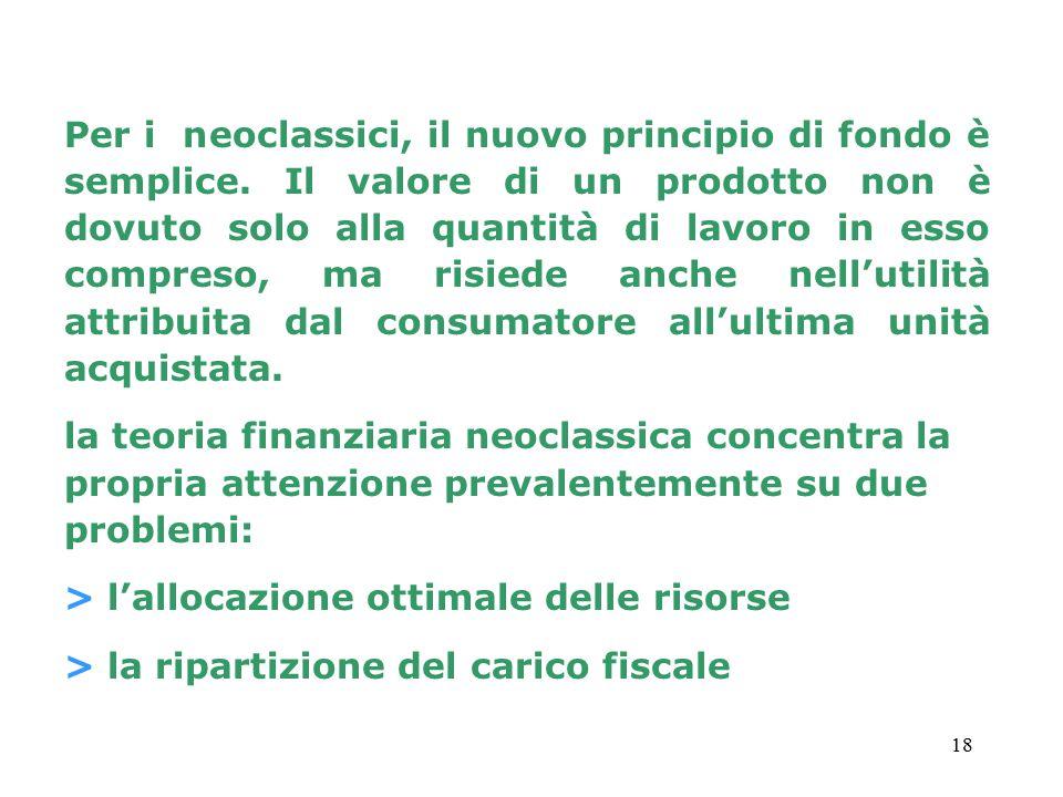 Per i neoclassici, il nuovo principio di fondo è semplice