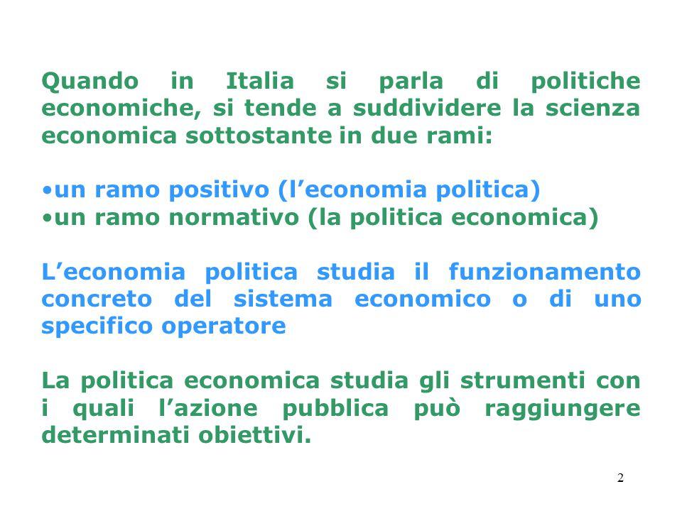 Quando in Italia si parla di politiche economiche, si tende a suddividere la scienza economica sottostante in due rami: