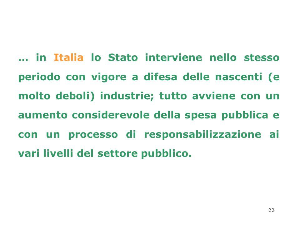 … in Italia lo Stato interviene nello stesso periodo con vigore a difesa delle nascenti (e molto deboli) industrie; tutto avviene con un aumento considerevole della spesa pubblica e con un processo di responsabilizzazione ai vari livelli del settore pubblico.