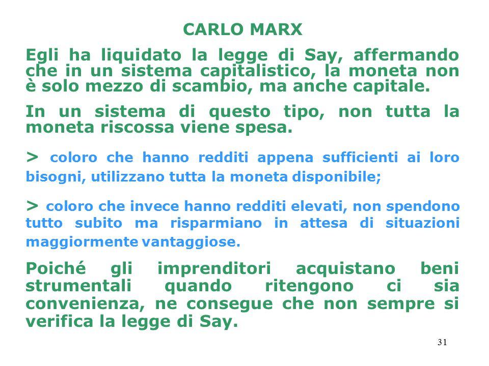 CARLO MARX Egli ha liquidato la legge di Say, affermando che in un sistema capitalistico, la moneta non è solo mezzo di scambio, ma anche capitale.