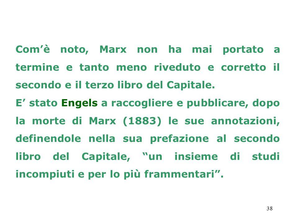 Com'è noto, Marx non ha mai portato a termine e tanto meno riveduto e corretto il secondo e il terzo libro del Capitale.