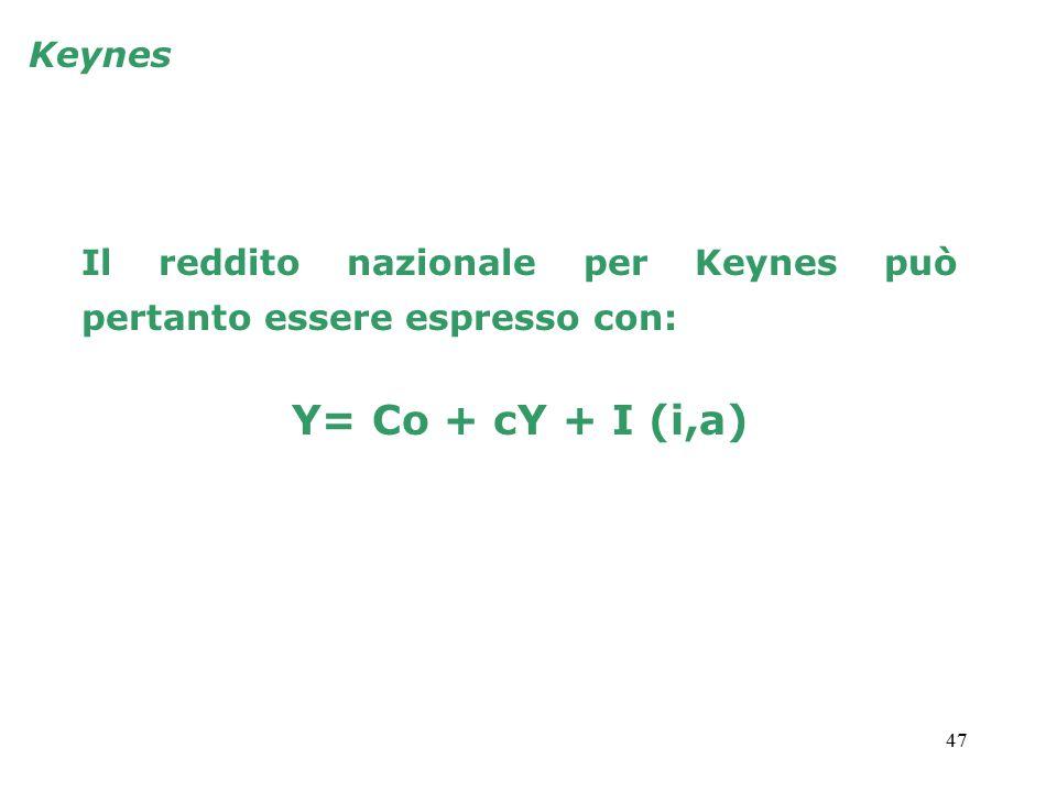 Keynes Il reddito nazionale per Keynes può pertanto essere espresso con: Y= Co + cY + I (i,a)