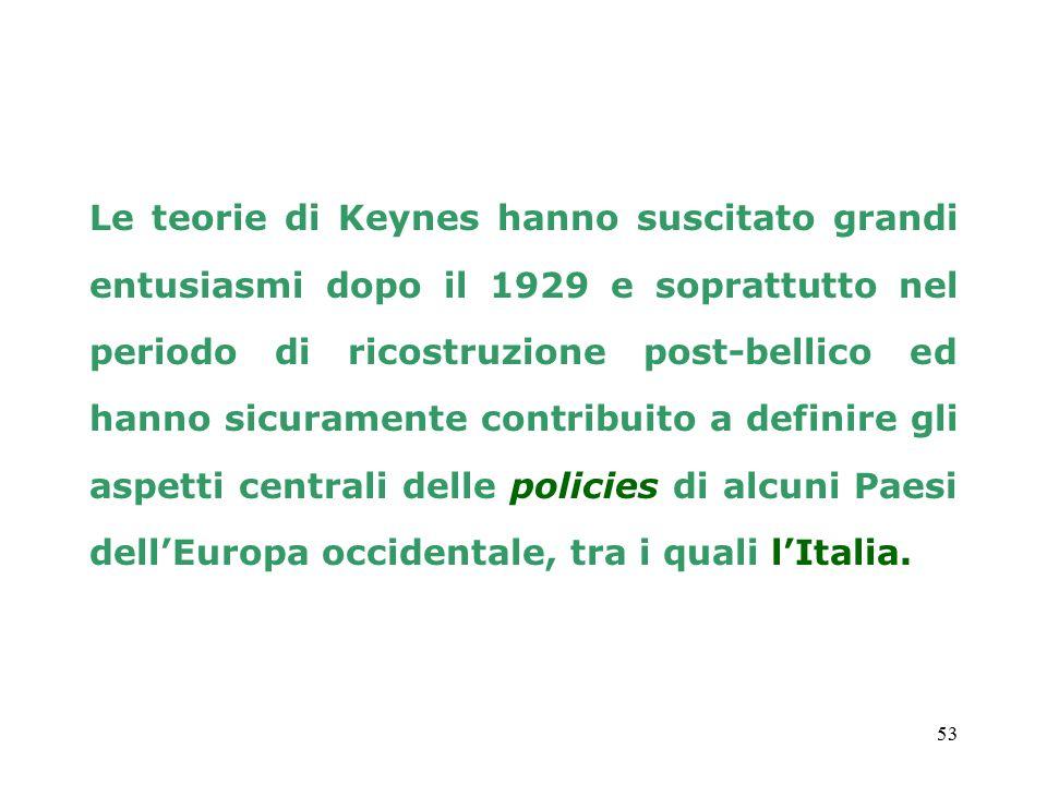 Le teorie di Keynes hanno suscitato grandi entusiasmi dopo il 1929 e soprattutto nel periodo di ricostruzione post-bellico ed hanno sicuramente contribuito a definire gli aspetti centrali delle policies di alcuni Paesi dell'Europa occidentale, tra i quali l'Italia.