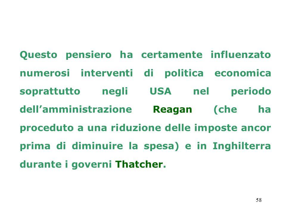 Questo pensiero ha certamente influenzato numerosi interventi di politica economica soprattutto negli USA nel periodo dell'amministrazione Reagan (che ha proceduto a una riduzione delle imposte ancor prima di diminuire la spesa) e in Inghilterra durante i governi Thatcher.