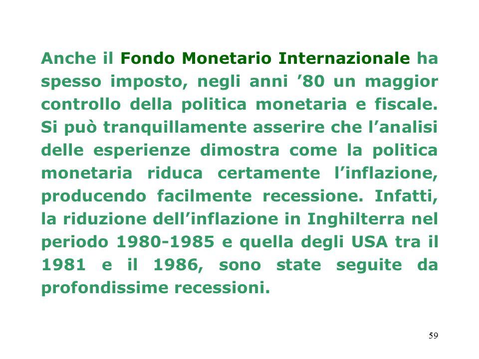 Anche il Fondo Monetario Internazionale ha spesso imposto, negli anni '80 un maggior controllo della politica monetaria e fiscale.