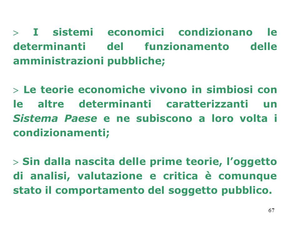  I sistemi economici condizionano le determinanti del funzionamento delle amministrazioni pubbliche;
