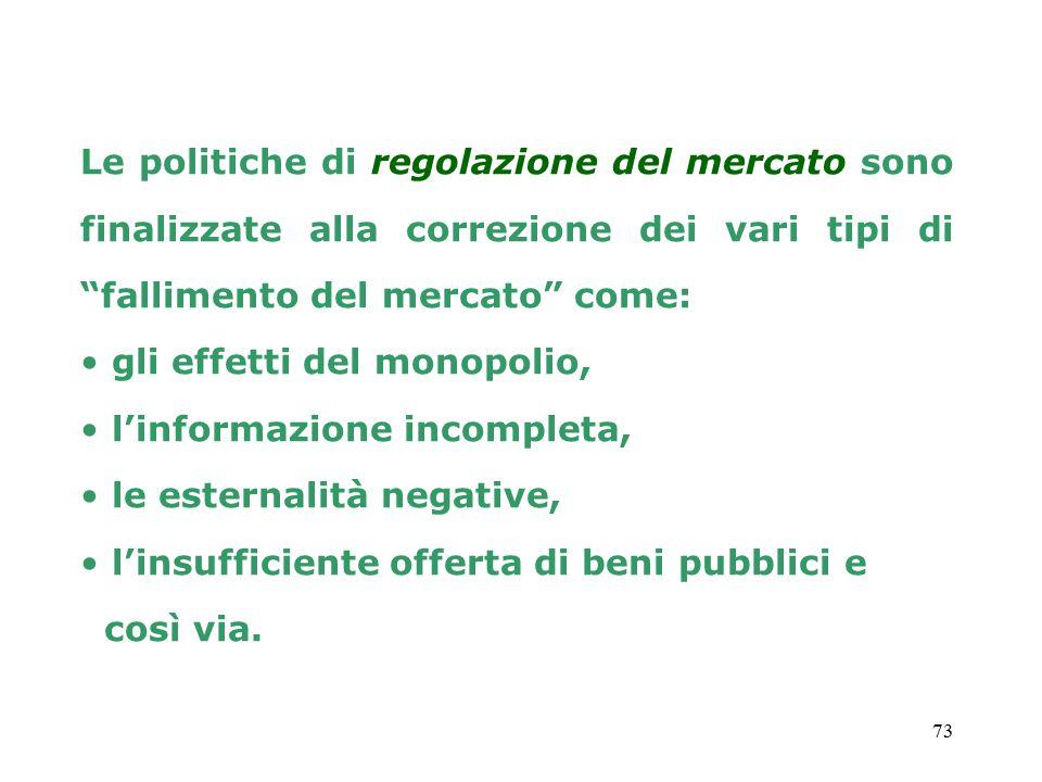 Le politiche di regolazione del mercato sono finalizzate alla correzione dei vari tipi di fallimento del mercato come: