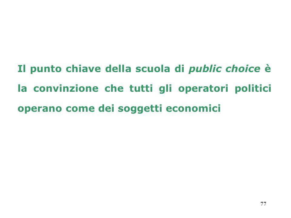Il punto chiave della scuola di public choice è la convinzione che tutti gli operatori politici operano come dei soggetti economici
