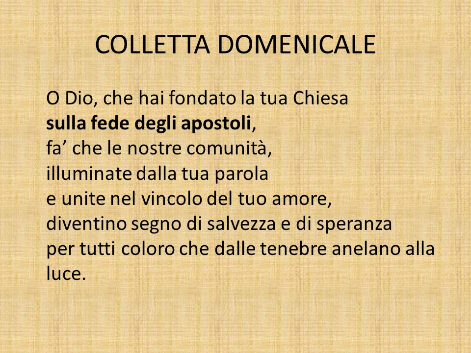 COLLETTA DOMENICALE