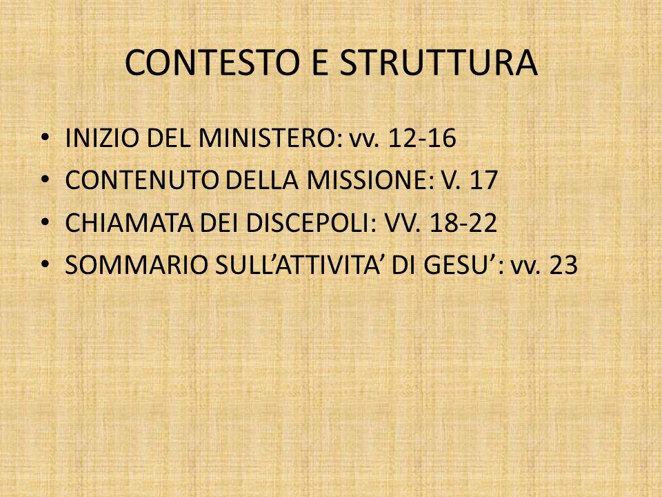 CONTESTO E STRUTTURA INIZIO DEL MINISTERO: vv. 12-16