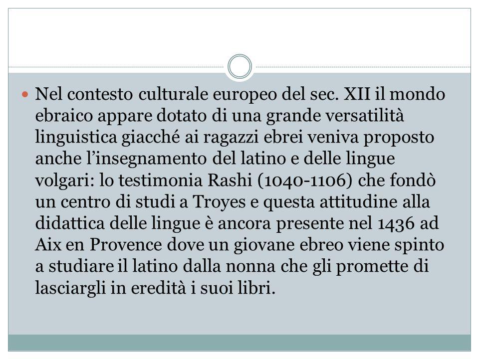 Nel contesto culturale europeo del sec