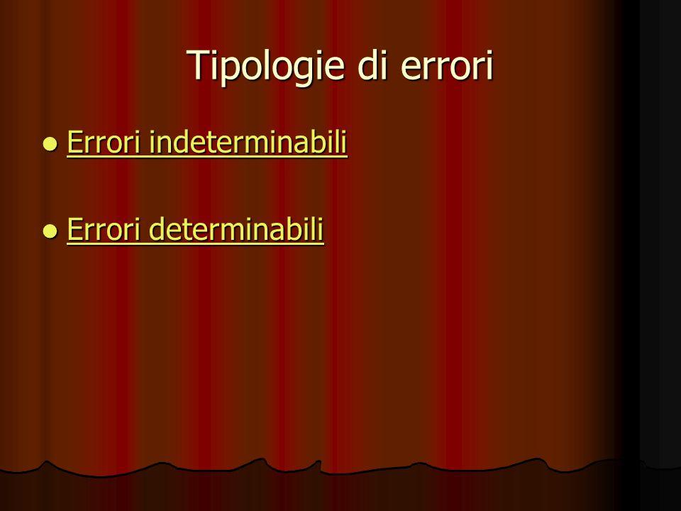 Tipologie di errori Errori indeterminabili Errori determinabili