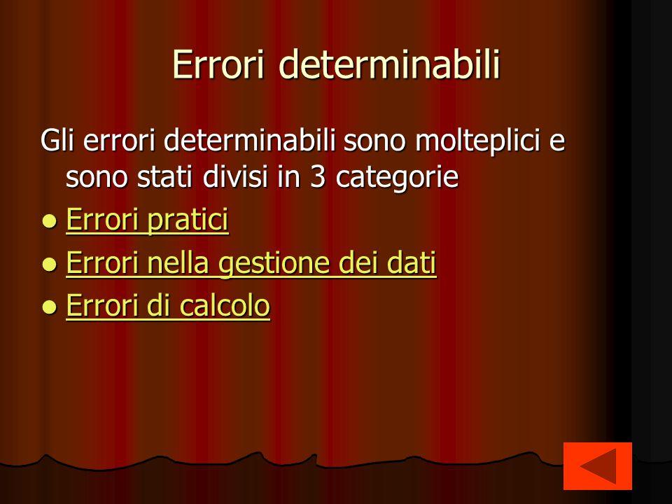 Errori determinabili Gli errori determinabili sono molteplici e sono stati divisi in 3 categorie. Errori pratici.