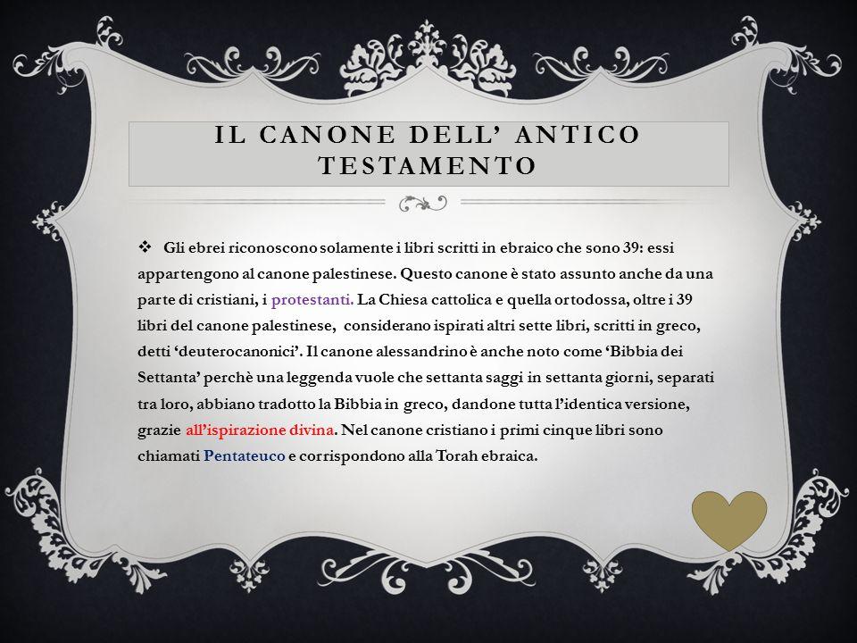 IL CANONE DELL' ANTICO TESTAMENTO