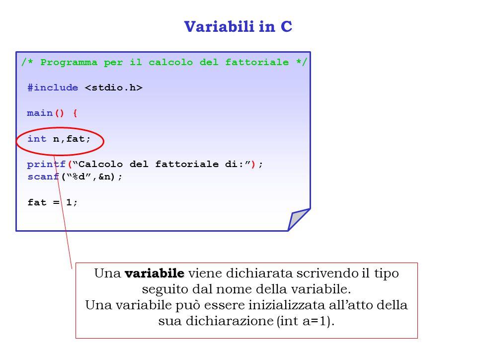 Variabili in C /* Programma per il calcolo del fattoriale */ #include <stdio.h> main() { int n,fat;