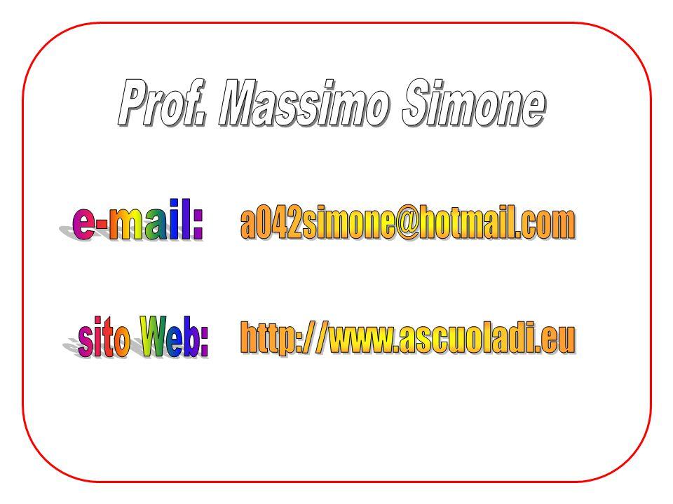 Prof. Massimo Simone e-mail: a042simone@hotmail.com sito Web: http://www.ascuoladi.eu