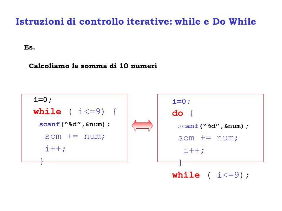 Istruzioni di controllo iterative: while e Do While