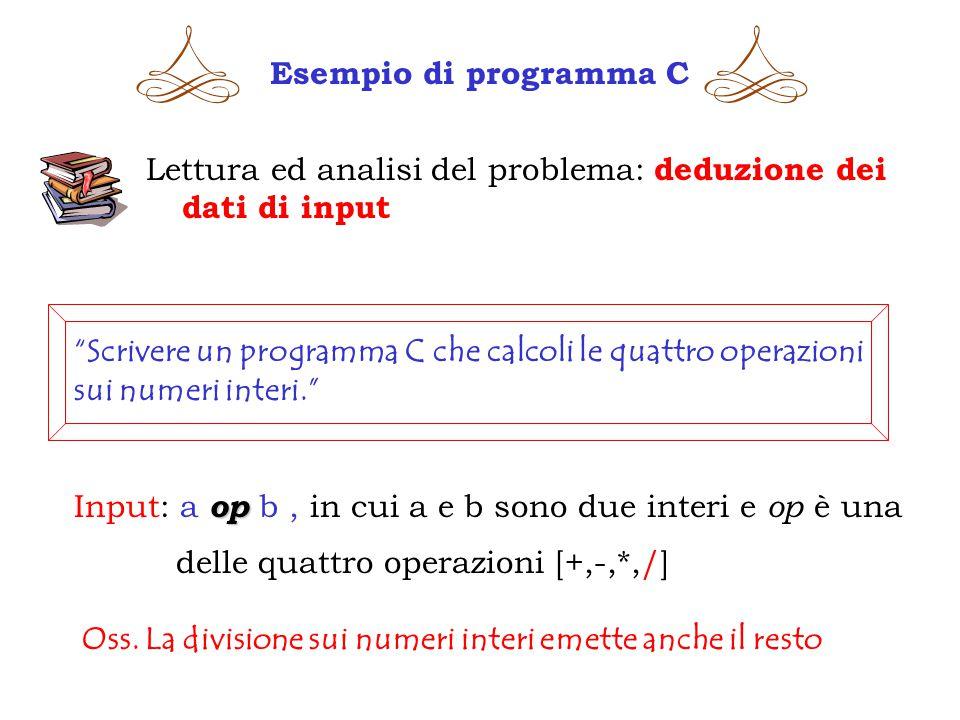 Esempio di programma C Lettura ed analisi del problema: deduzione dei dati di input.