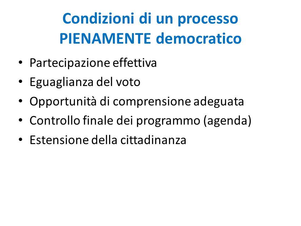 Condizioni di un processo PIENAMENTE democratico