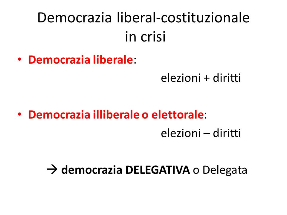 Democrazia liberal-costituzionale in crisi