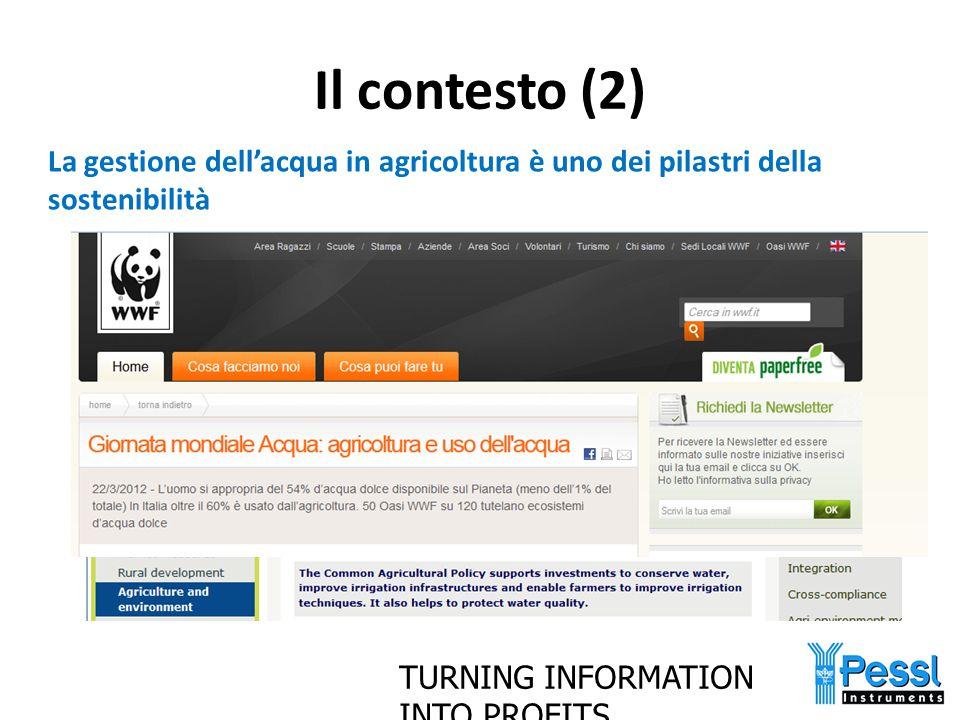 Il contesto (2) La gestione dell'acqua in agricoltura è uno dei pilastri della sostenibilità