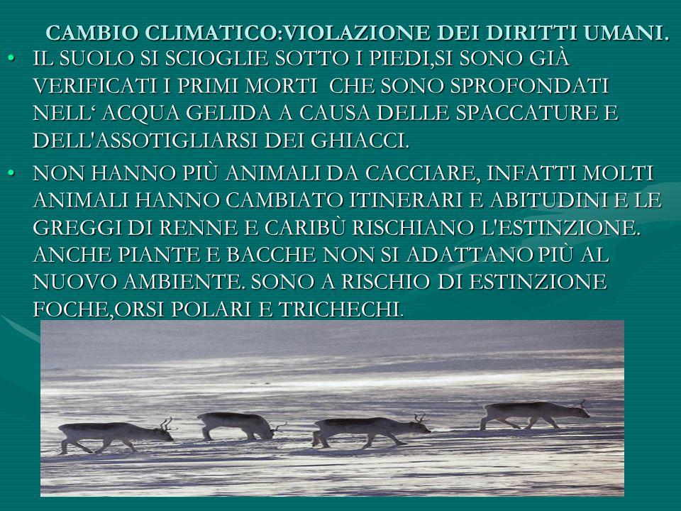 CAMBIO CLIMATICO:VIOLAZIONE DEI DIRITTI UMANI.