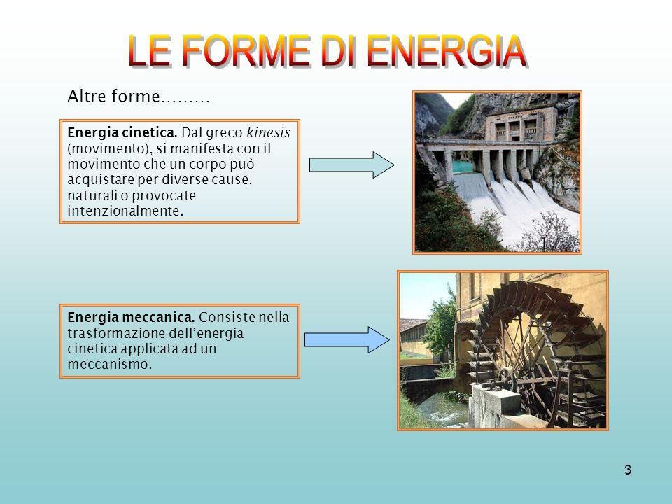 LE FORME DI ENERGIA LE FORME DI ENERGIA LE FORME DI ENERGIA