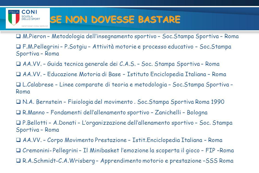 SE NON DOVESSE BASTARE M.Pieron – Metodologia dell'insegnamento sportivo – Soc.Stampa Sportiva – Roma.