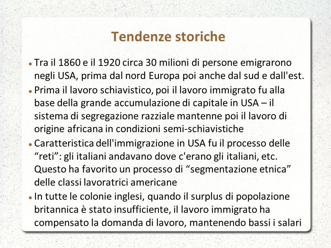 Tendenze storiche Tra il 1860 e il 1920 circa 30 milioni di persone emigrarono negli USA, prima dal nord Europa poi anche dal sud e dall est.