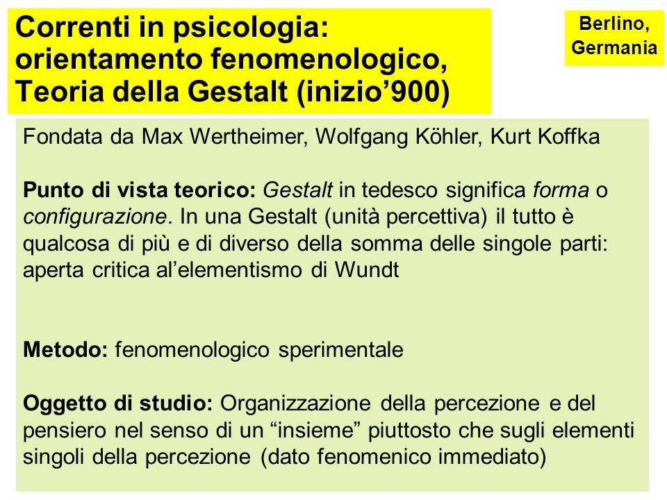 Correnti in psicologia: orientamento fenomenologico,