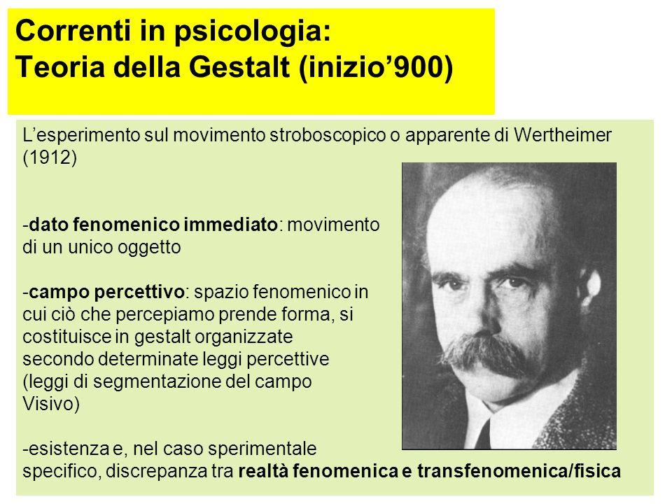 Correnti in psicologia: Teoria della Gestalt (inizio'900)