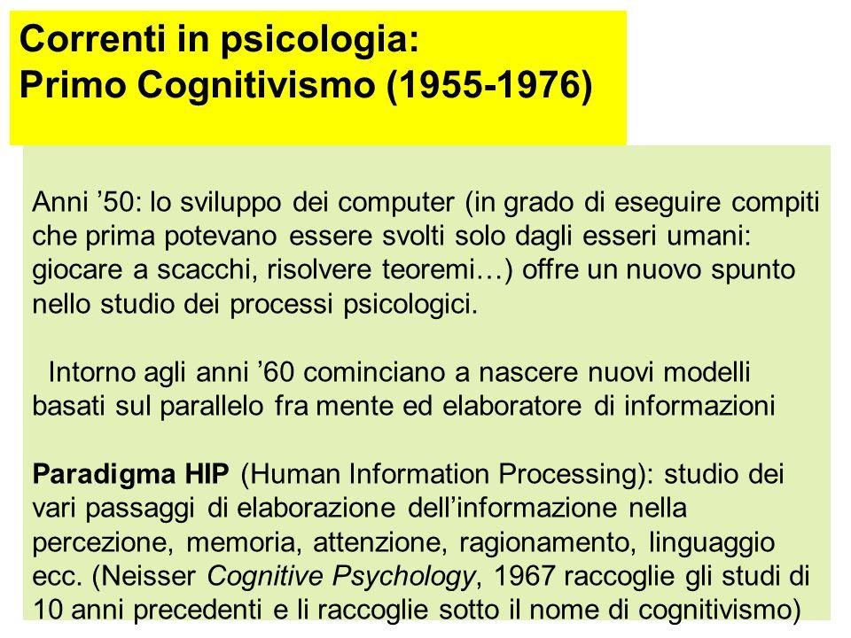 Correnti in psicologia: Primo Cognitivismo (1955-1976)