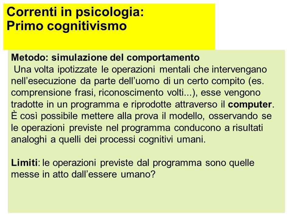 Correnti in psicologia: Primo cognitivismo