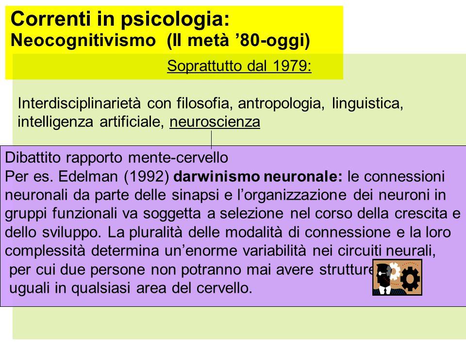 Correnti in psicologia: Neocognitivismo (II metà '80-oggi)