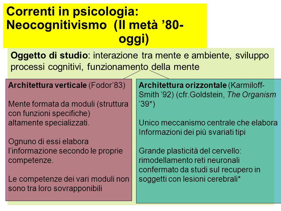 Correnti in psicologia: Neocognitivismo ( II metà '80- oggi)
