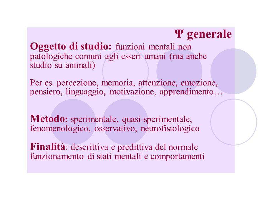 Ψ generale Oggetto di studio: funzioni mentali non patologiche comuni agli esseri umani (ma anche studio su animali)