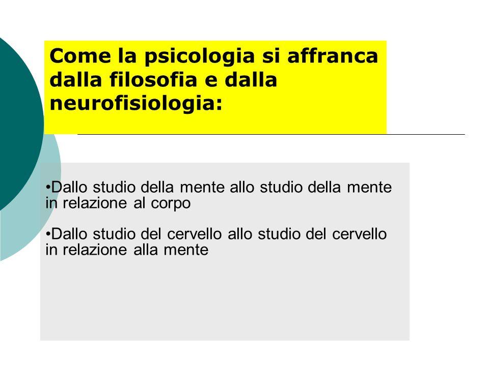 Come la psicologia si affranca dalla filosofia e dalla neurofisiologia: