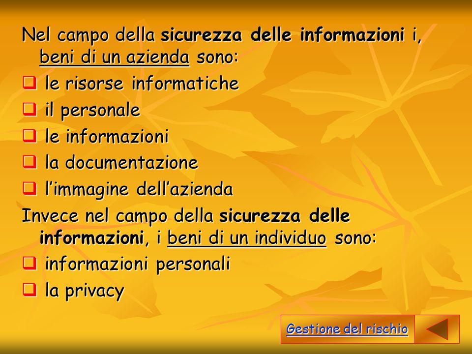 le risorse informatiche il personale le informazioni la documentazione