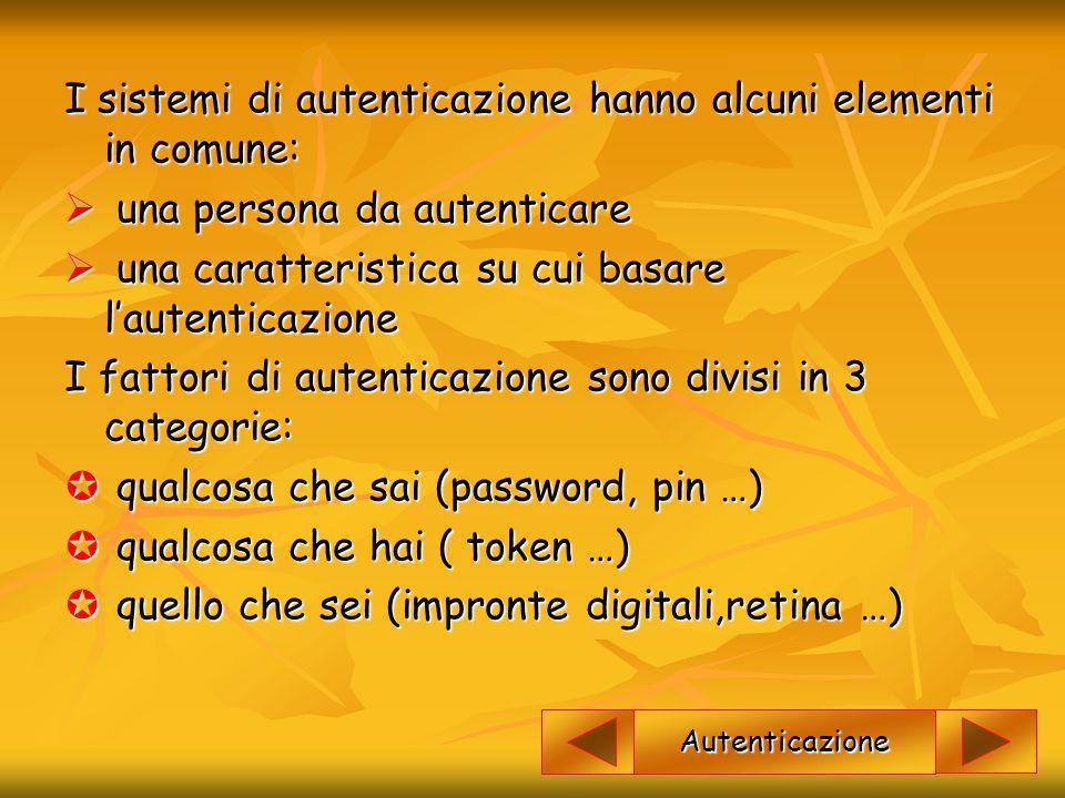 I sistemi di autenticazione hanno alcuni elementi in comune: