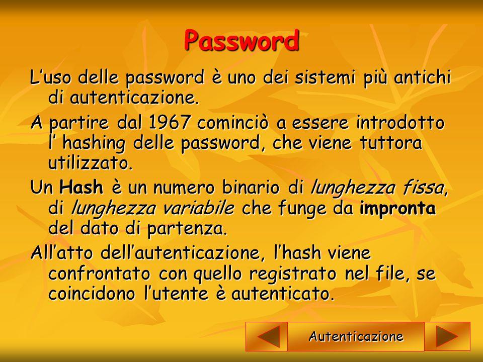 Password L'uso delle password è uno dei sistemi più antichi di autenticazione.