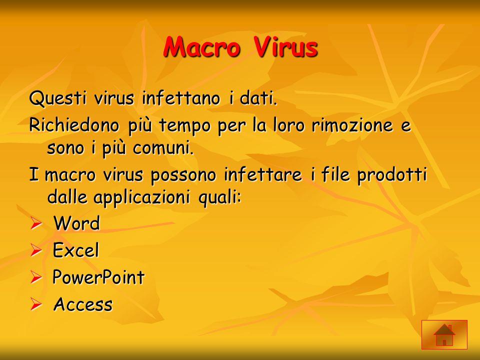Macro Virus Questi virus infettano i dati.