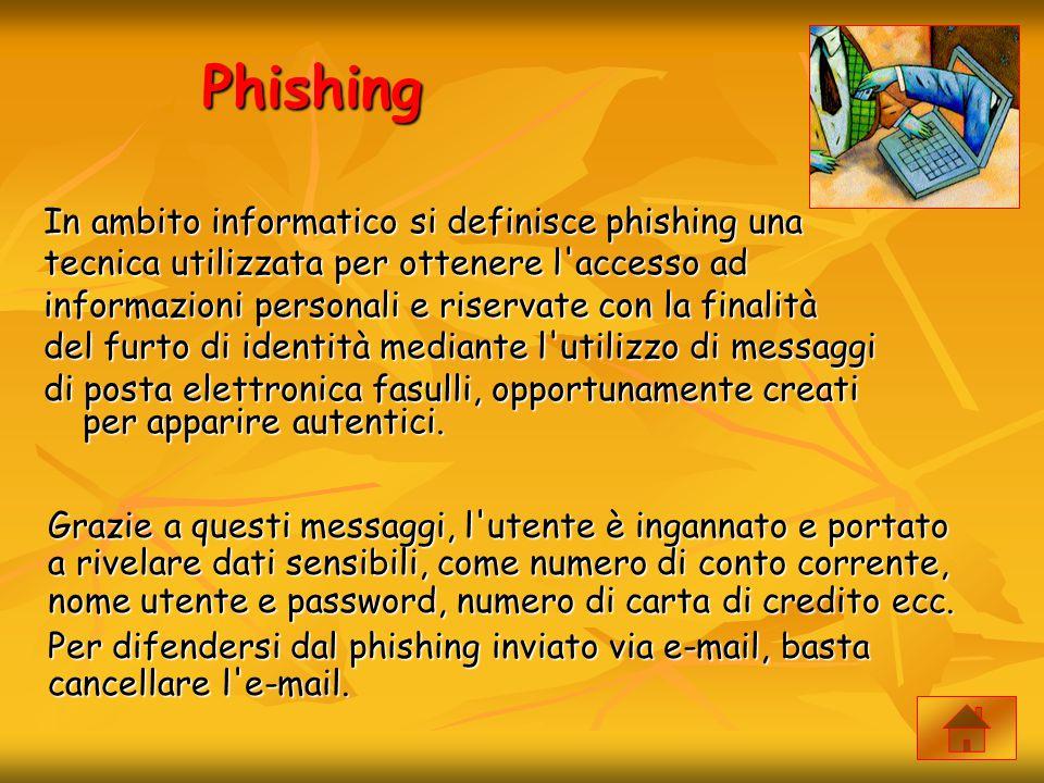 Phishing In ambito informatico si definisce phishing una