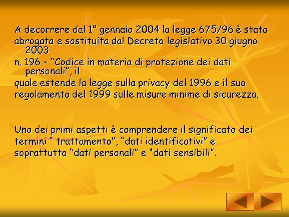A decorrere dal 1° gennaio 2004 la legge 675/96 è stata