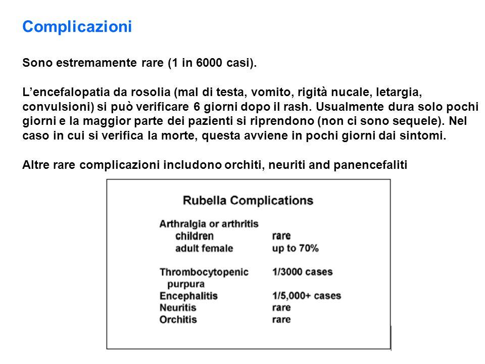 Complicazioni Sono estremamente rare (1 in 6000 casi).