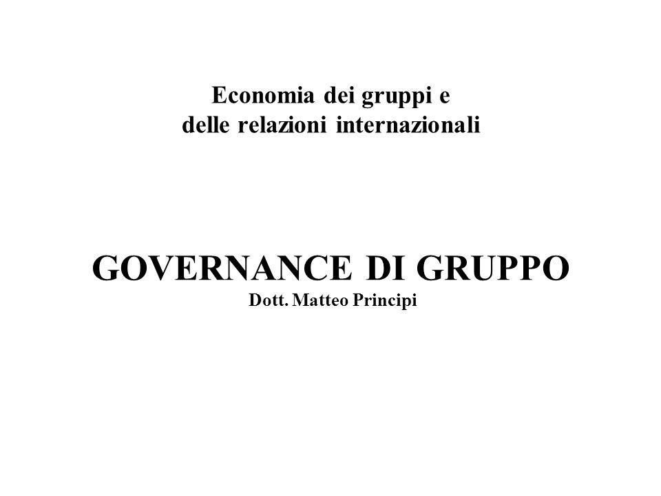 GOVERNANCE DI GRUPPO Dott. Matteo Principi