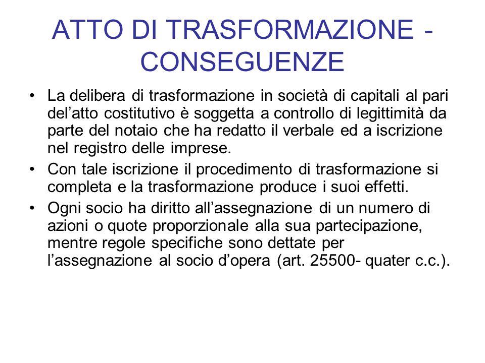 ATTO DI TRASFORMAZIONE - CONSEGUENZE