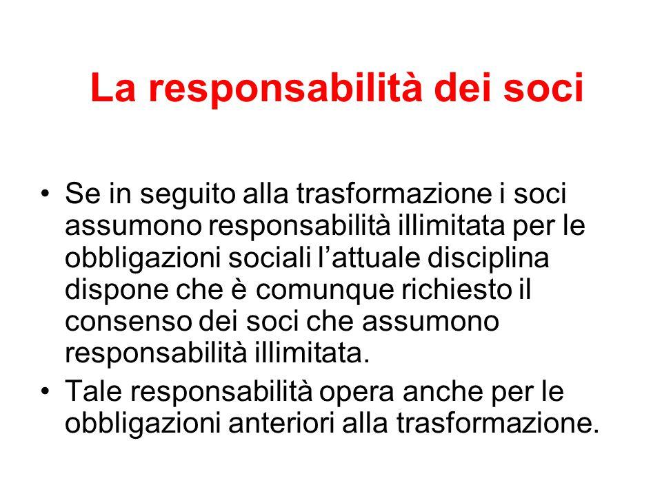 La responsabilità dei soci